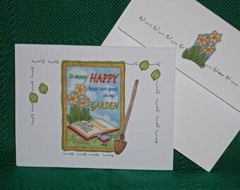 NOTECARDS--Happy Hours in the Garden--Summer Flower Garden-2