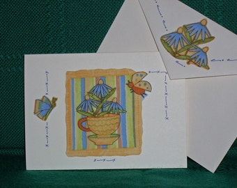 NOTECARDS--Tea with Flowers and Butterflies-2
