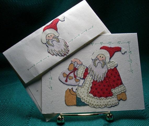 NOTECARDS--Santa with Gift Bag