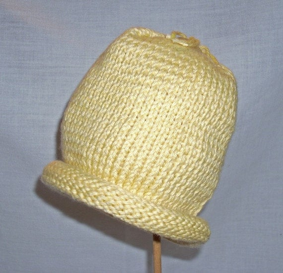 Knitting Pattern For Baby Hat With Brim : KNITTING-Rolled Brim Baby Hat