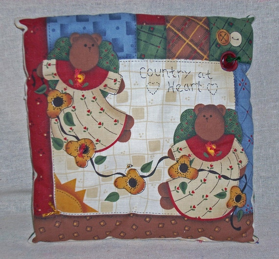 PILLOW--A Pair of Country Angel Bears
