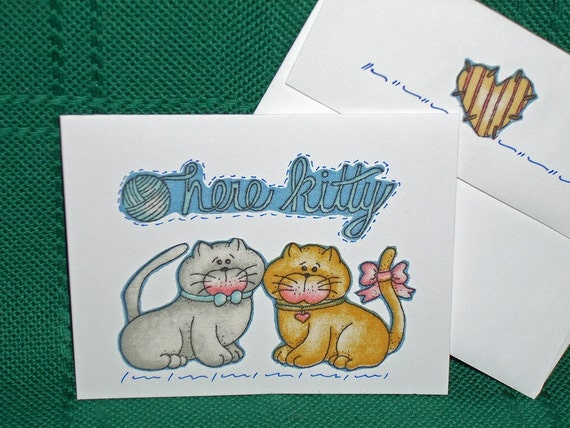 NOTECARDS--Cute Cats in Fabric Applique