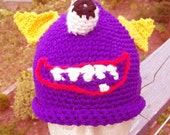 Monster Hat One Eyed One Horned Flying Purple People Eater Made in size of Your Choice