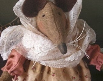 PDF Doll Pattern - Betsy the Country Mouse  Doll - EPattern