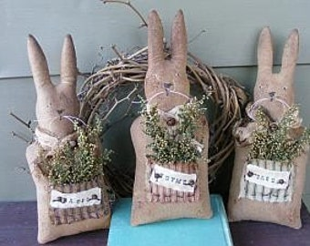 PDF Downloadable Pattern - Spring Herb Bunny-E-Pattern - Hafair