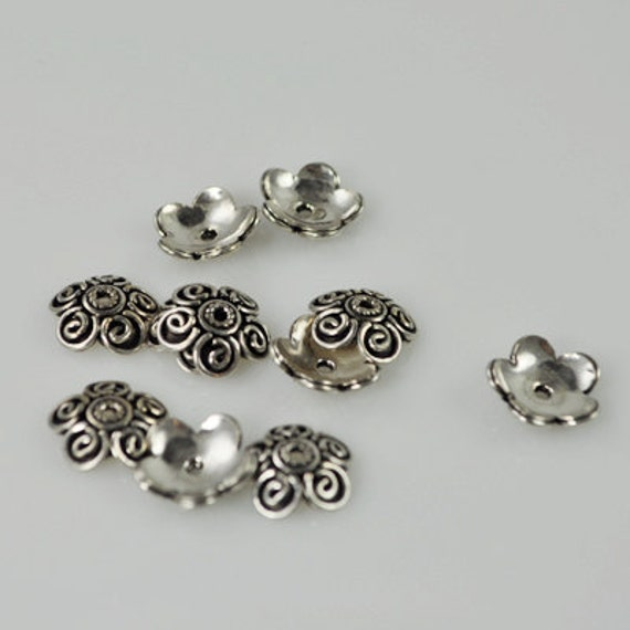 10 Sterling Silver Beach Caps 12mm (SSCaps-001)