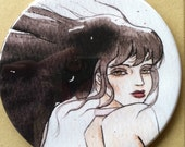 Dark Haired Girl Pocket Mirror