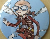 Steampunk Mechanical Girl Pocket Mirror