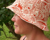 RESERVED FOR ULLA - Cloche Hats - Gray and Orange - Gray and Striped
