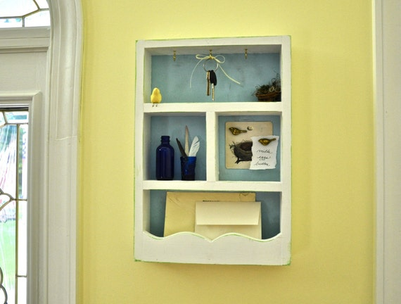 White Solid Wood Mail Holder Wall Organizer Key Rack