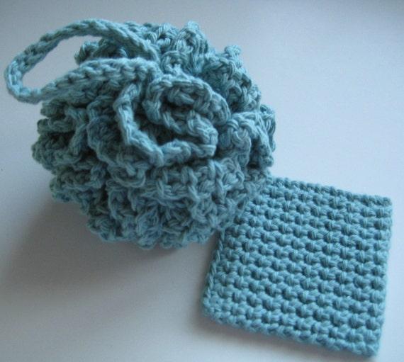 Cotton Crochet Bath Pouf Puff Soft Teal W Free Trial