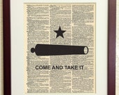 Texas Come and Take it Flag - Art Print on Vintage Antique Dictionary Paper - Remember the Alamo