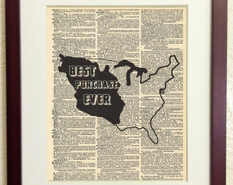 Louisiana Purchase - Art Print on Vintage Antique Dictionary Paper - Best Purchase Ever - American History