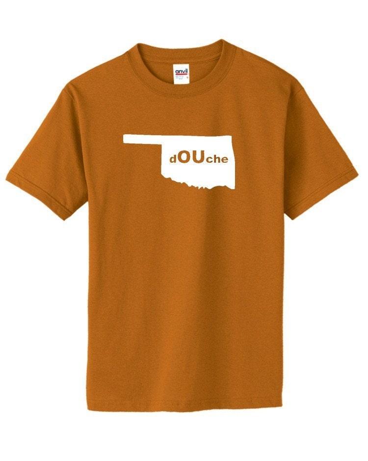 Funny texas shirt douche anti oklahoma by fedorafinch on etsy for Custom t shirts okc