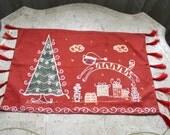 Handmade Batik Christmas Happiness Xmas Decor Rectangular Small Tablecloth Doily
