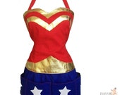 Super Hero Apron - Domestic Wonder Woman - reversible