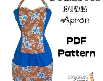 Domestic Diva Apron PDF instructions and PATTERN - instant download