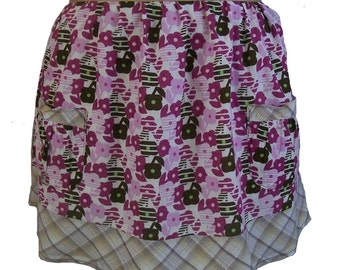 Lavendar and Purple flowers and brown plaid recycled fabric half apron