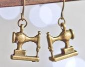 sewing machine earring- bronze singer sewing machine seamstress thread needle