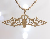 Hanging bat filigree - bronze necklace dangle goth cool punk emo fun different