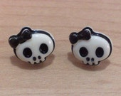 SALE - Black Skull with Bow Stud Earrings - Surgical Steel Posts - Gift Bag Included