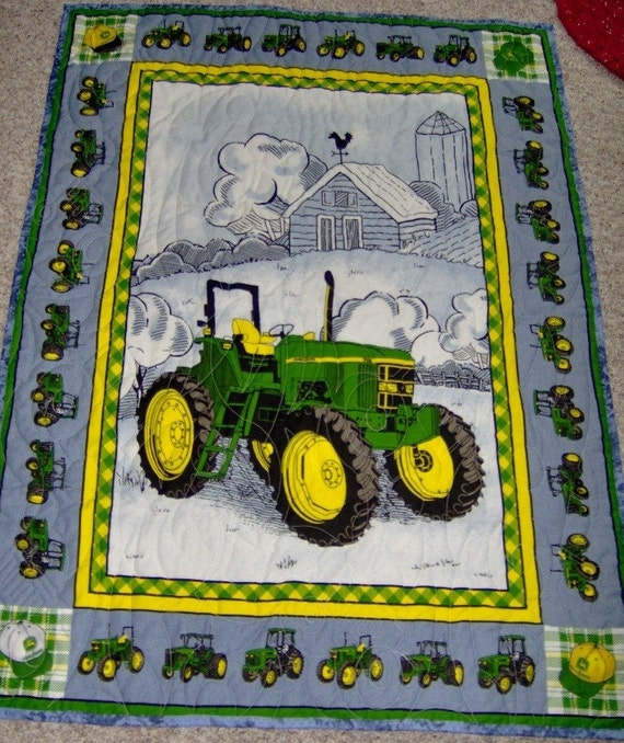 John Deere Panel Quilt Finished with Tractors Quilted on