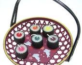 Pink Kamaboko Fish Cake Hosomaki Tekka Maki Sushi Candle Beeswax Party Favor Japanese Faux Food Japan