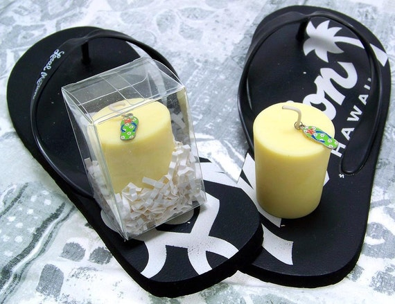 Flip Flop Charm Large Soy Votive Yellow Candle Gardenia Scent Fragrance Summer in Box Made in Hawaii