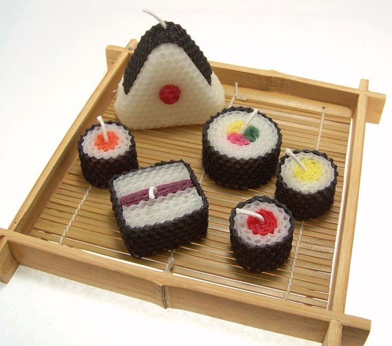 Sushi Candle Gift Set Original Assorted Sushi Candles Beeswax Handmade Candle Unique Onigiri Japanese Faux Food Japan 6 Piece Gift Set