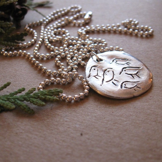 """Resting Birds Silver Necklace Reclaimed Silver Harbinger of Spring 30"""" Chain"""