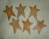 Twelve (12) Primitive Rusty Tin Stars Craft Supplies 2.50 Inch Scrapbooking Embellishments Whimsical