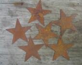 Twelve (12) Rusty Tin Stars Craft Supplies 1.25 Inch Scrapbooking Embellishments