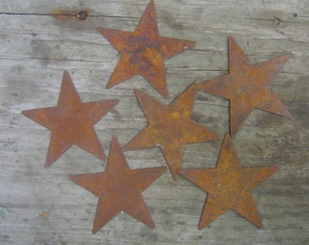 Twelve (12) Rusty Tin Stars Craft Supplies 1.25 Inch Scrapbooking Embellishments
