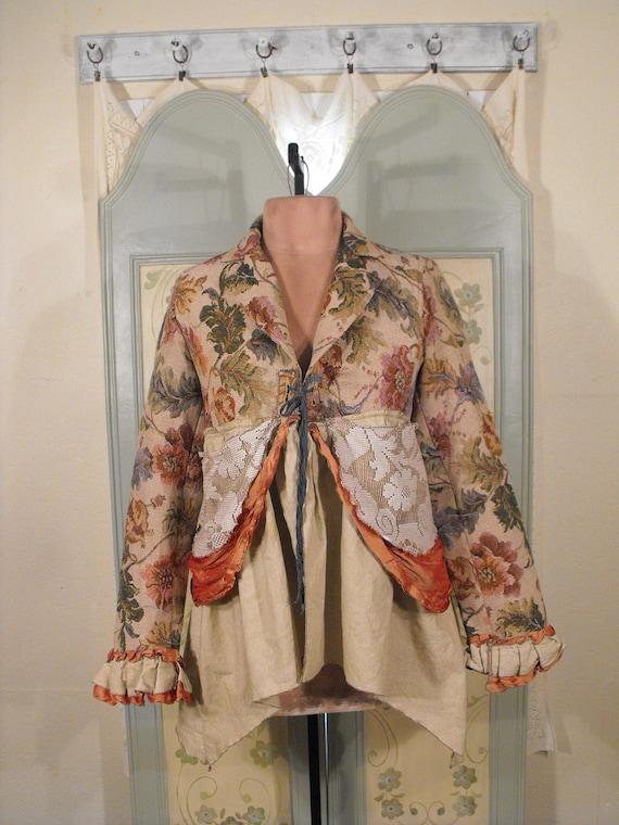 SPRING SALE Gypsy Dreamer Tapestry & Vintage Lace Jacket M/L