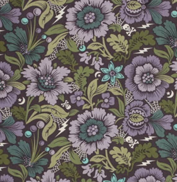 Tula Pink for Free Spirit, NIGHT SHADE, Spider Blossom in Evening, one yard
