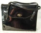 Vintage 50's Shiny Black Patent Leather Kelly Handbag
