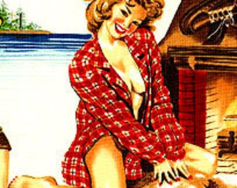 Great Outdoors Pinups Alexander Henry Cotton Fabric REMNANT
