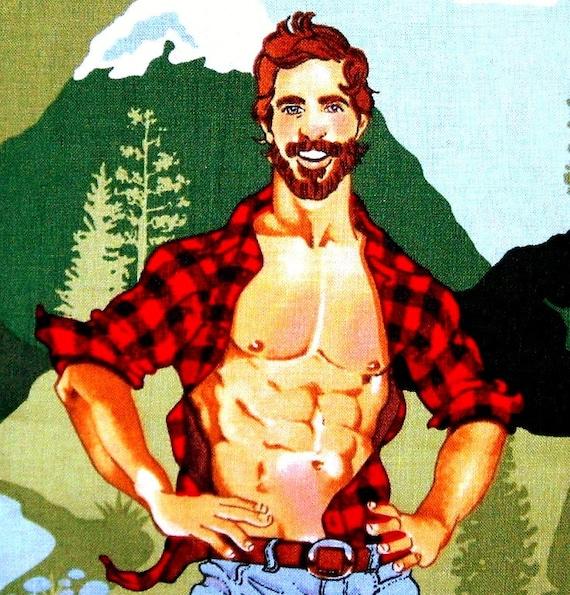 Lumberjack Retro Hunks Outdoorsy Type Alexander Henry Cotton Fabric