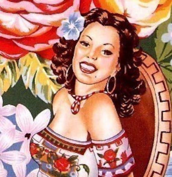 Mexican Senoritas Retro Pinup Girls Cotton Fabric