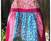 ooak Handmade Custom Apron Knot Dress Size 4T 5T (ready to ship)