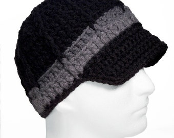 Crochet Newsboy Beanie with Brim, Great Gift for Guys