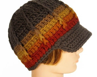 Brimmed Beanie, Handmade Hat with Visor - Fading into Fall