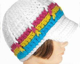 Brimmed Newsboy Style Beanie, Handmade Hat