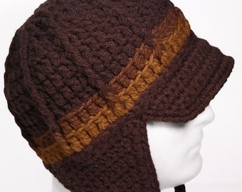 Newsboy Hat with Earflaps and Visor - BUTTERSCOTCH TOFFEE TRUFFLE