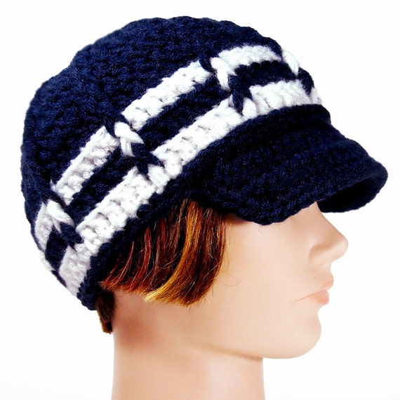 Nautical Hat with Visor, Navy Blue with White Stripes, ANCHORS AWAY