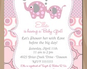 Elephant Baby Shower Invitation, Girl Baby Shower, Pink and Gray Grey - Printable Digital Diy or Printed