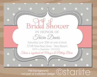 Coral and Gray Bridal Shower invitation   Bold Dots   Hens Party Engagement   Personalized Printable Invitation or Printed Invitations