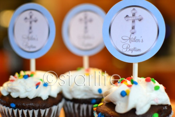 Printable Baptism Cupcake Toppers, Boy Baptism Cupcake Toppers Printable, Blue + Silver Baptism Toppers, Favor Tags, Boy Christening