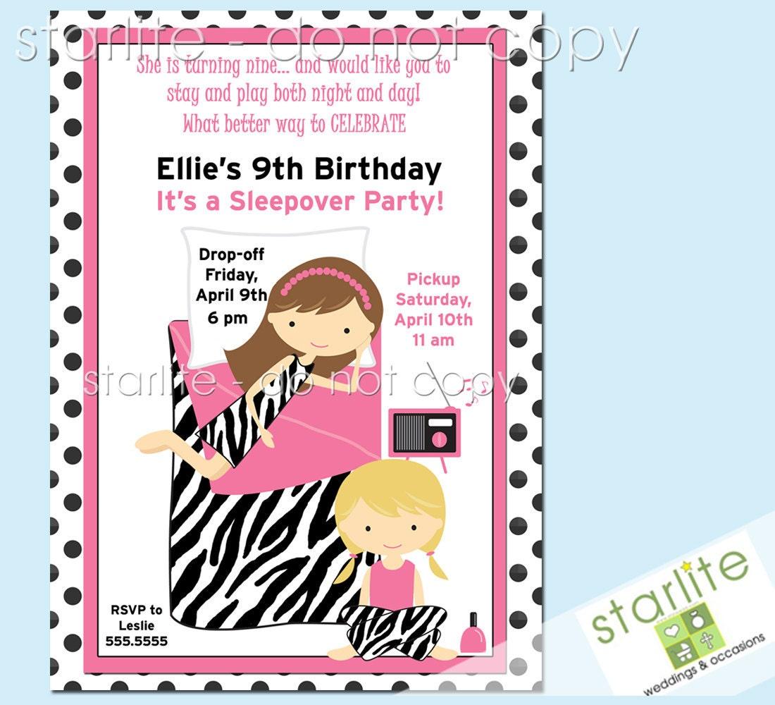 Items Similar To Sleepover Birthday Party Invitation, Girl