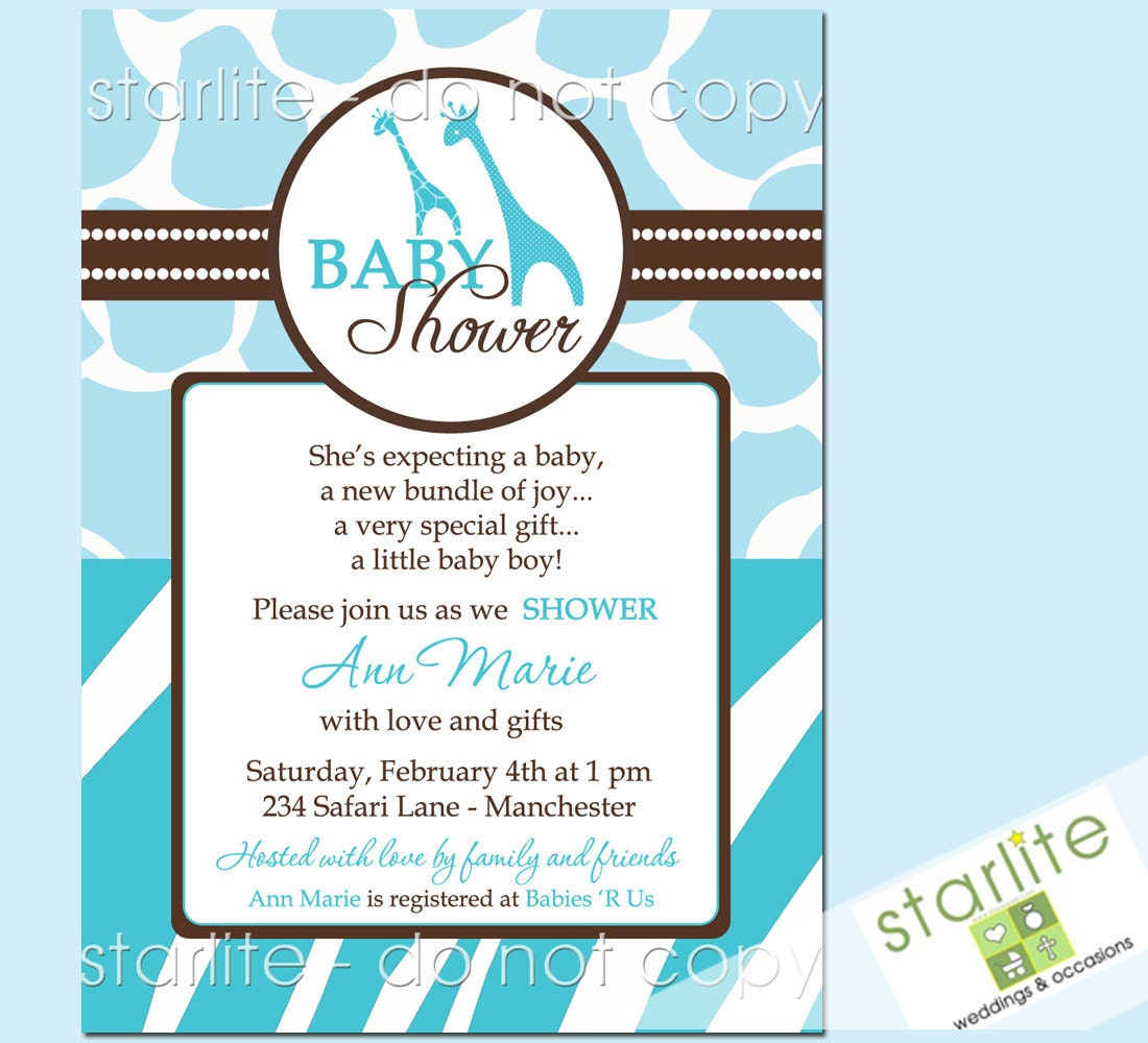 wild safari blue baby shower invitations style 2 by starwedd